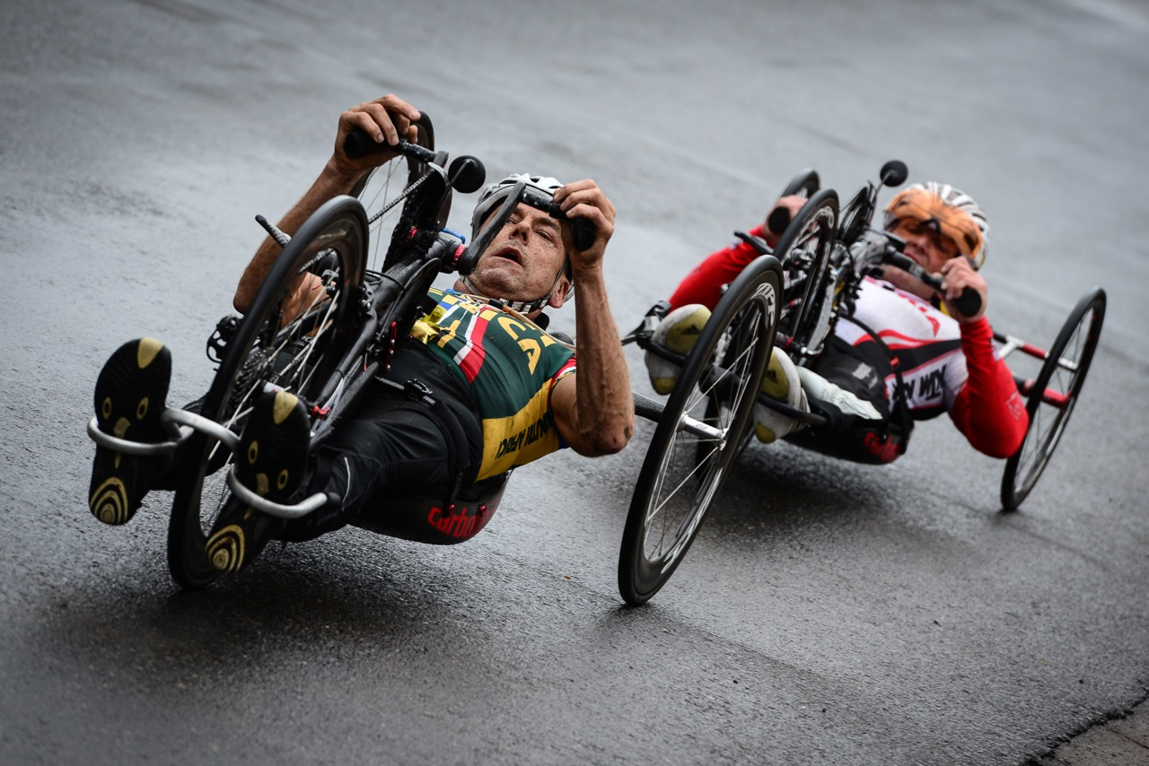 Stuart McCreadie launched his attack on the final lap of the H3 raceand managed to break away from Austrian Walter Ablinger at the 2016 UCI Para-cycling Road World Cup at Alexandra Park, Pietermaritzburg, on Sunday 8 May. Photo Credit: Darren Goddard
