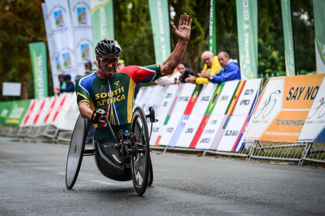 South African sporting icon, Ernst van Dyk, blitzed the 49.20-kilometre H5 race and claimed the gold medal at the 2016 UCI Para-cycling Road World Cup at Alexandra Park, Pietermaritzburg, on Sunday 8 May. Photo Credit: Darren Goddard