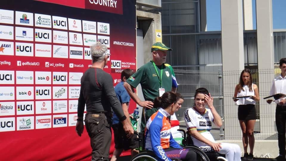 Current UCI Time Trial H2 World Campion, Justine Asher (pictured with Team Manager Dr Mike Burns), quickly hauled in her competitors and finished with a near personal best average speed of just over 30 km/h to claim the gold medal at the UCI Para-cycling Road World Cup, hosted by the Basque Country, Spain. Photo: supplied