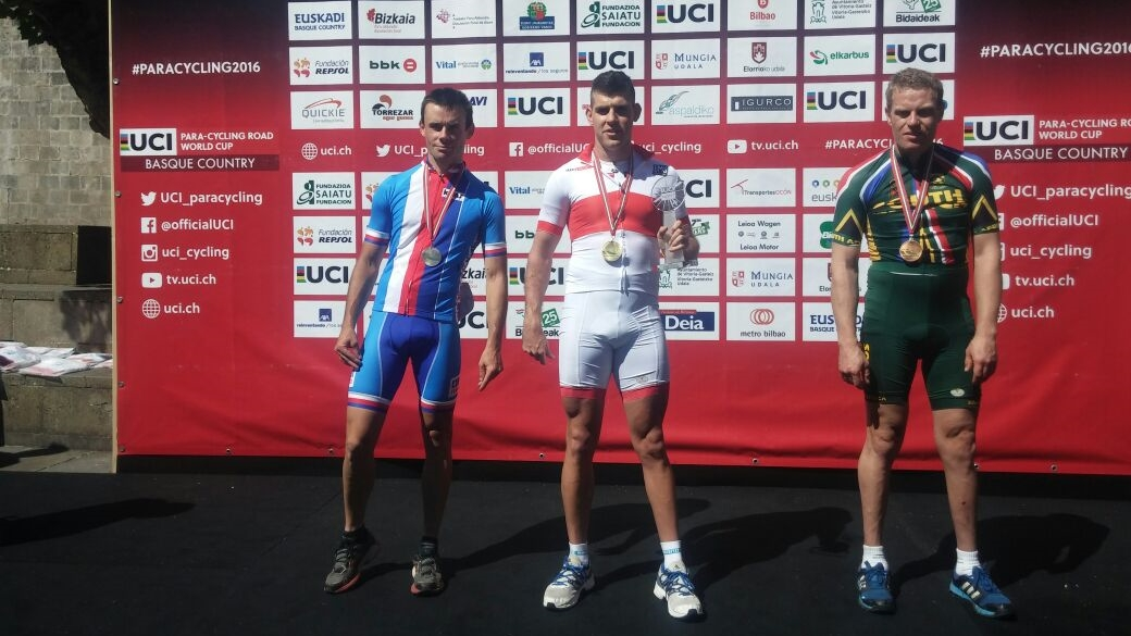 South Africa's two T2 tricyclists, Goldy Fuchs (gold) and Gerhard Viljoen (bronze), contributed to one of the most exciting races of the day in the road race at the UCI Para-cycling Road World Cup, hosted by the Basque Country, Spain. Photo: supplied