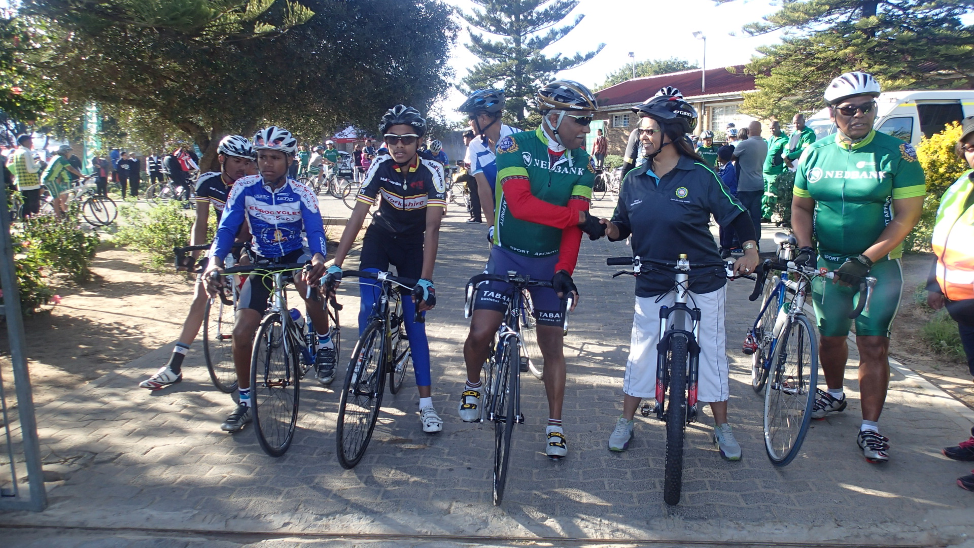 The start of the Community Mass Ride in honour of Women's Day was led by L-R William Newman (President Cycling SA), Ward Councillor Brenda Hansen and Franklyn Fortuin (Educator and Cyclist from Scottsville High School). Photo: supplied