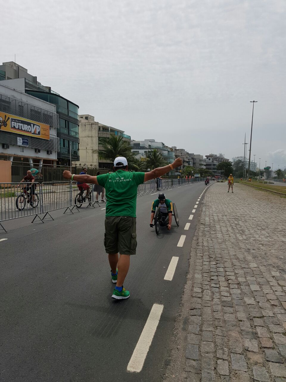 A moment of celebration as Ernst van Dyk claims the Gold medal win in the Men's H5 Road Race at the 2016 Rio Paralympics on Thursday 15 September