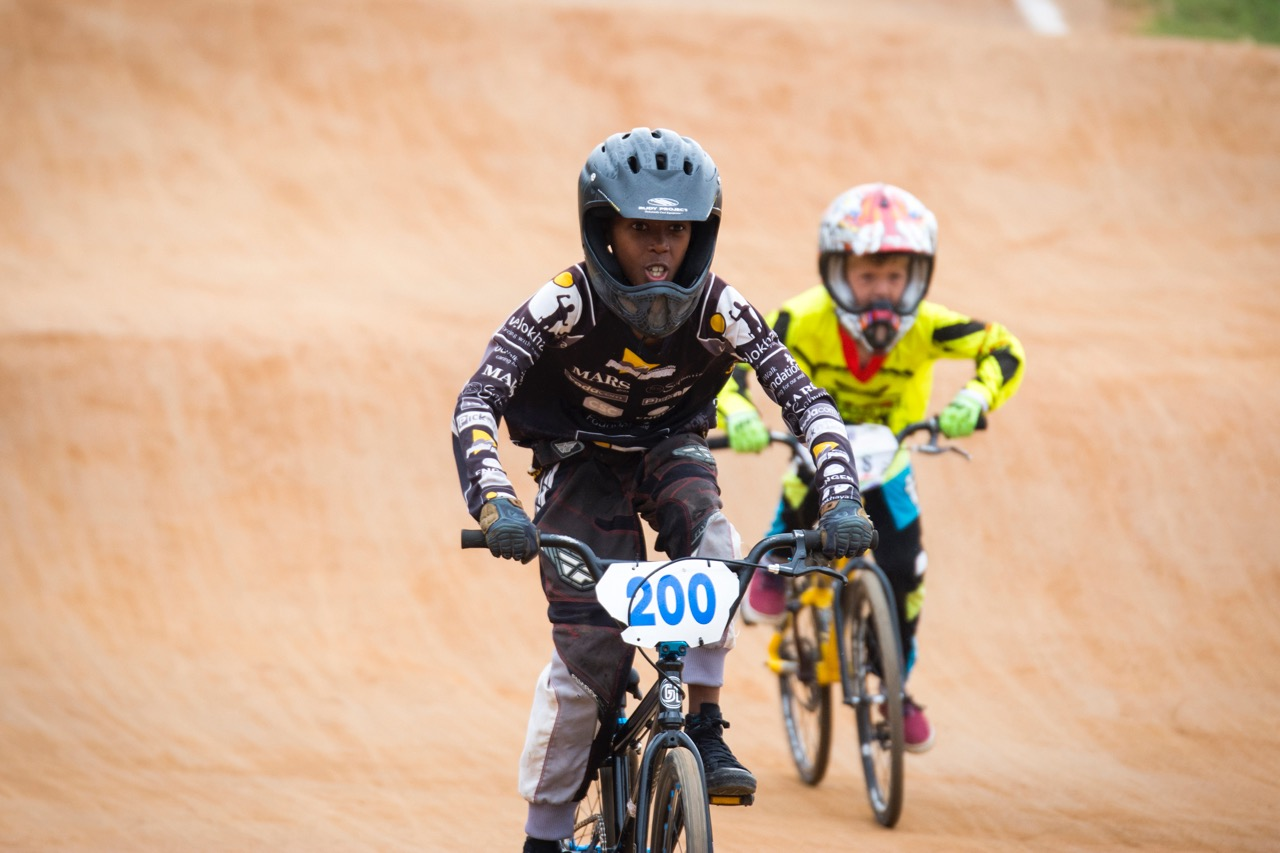 Sisa Thwalo from the Velokhaya Cycling Academy puts in strong focus in his 10 Boys race at the 2016 South African National BMX Championships at Giba Gorge Park on Saturday 1 October.Photo: Andrew McFadden/BOOGS Photography