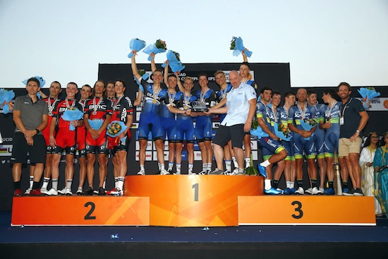 Daryl Impey and his Orica Bike Exchange team (right) claimed the bronze medal in the Men's Team Time Trial at the 2016 UCI Road World Championships, which took place in Doha, Qatar from 9-16 October. Photo:    ORICA BikeExchange
