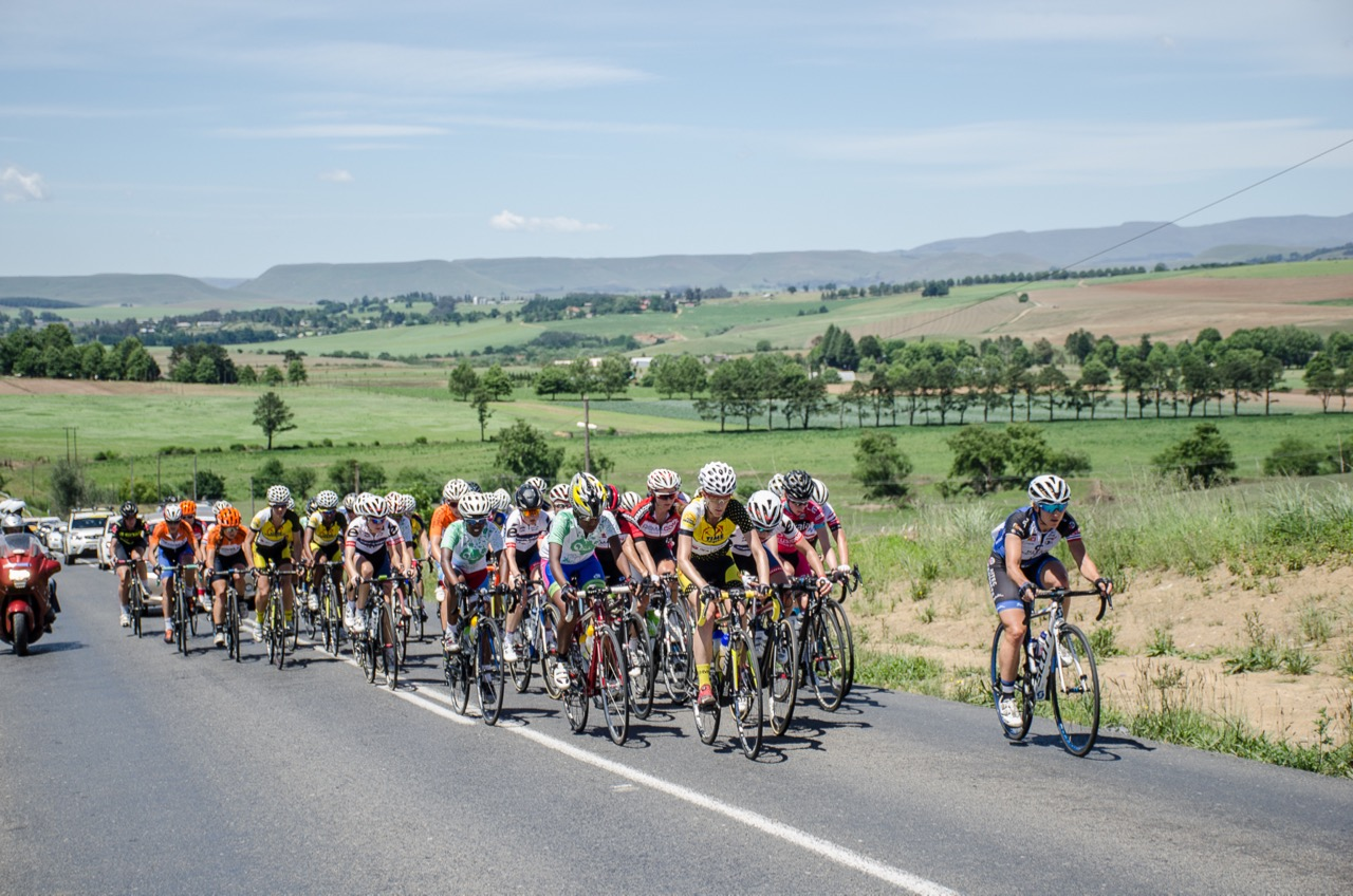 """""""Green are the hills of Natal"""". The world's best professional women road cyclists explored the KwaZulu-Natal Midlands on a 118-kilometre route that tested their mettle at the KZN Summer Series for Women - Queen Sibiya Classic - in Pietermaritzburg and surrounds on Thursday 17 November 2016. Photo credit: Stuart Pickering/Cycling Direct"""