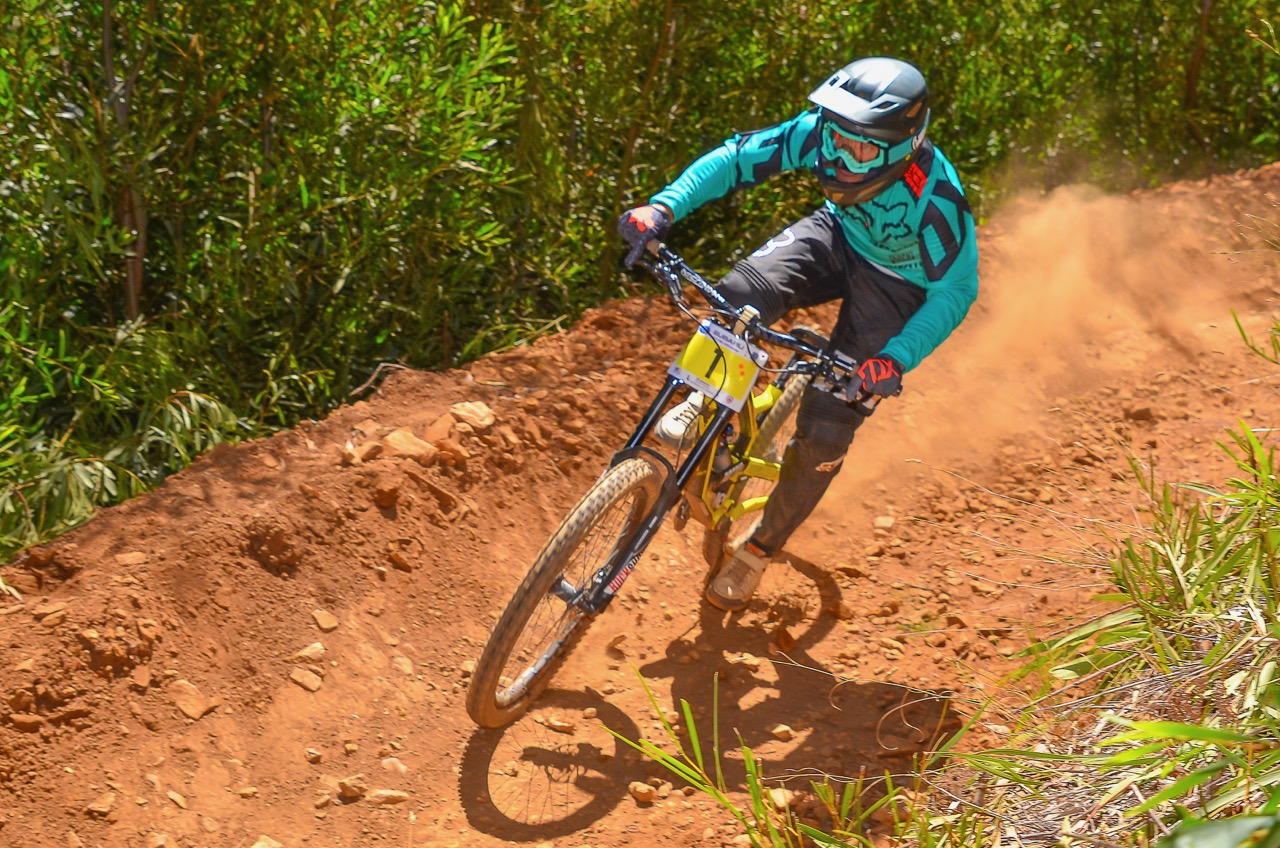 "Johann ""Pottie"" Potgieter was over the moon with his win at the first round of the 2017 SA Downhill National Cup Series in Helderberg on Sunday 29 January. Photo: Theo Bruwer"