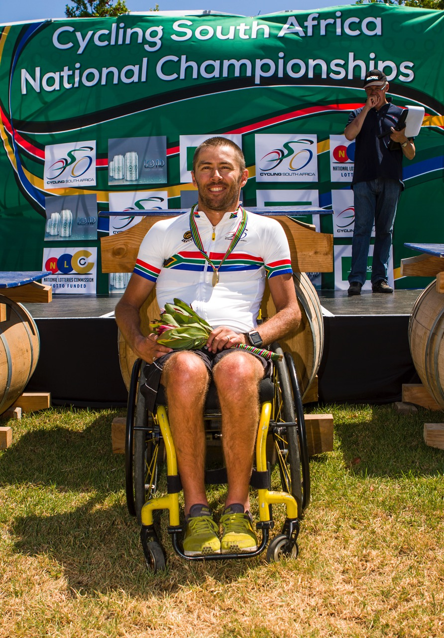 """Pieter """"Supapiet""""du Preez did the double as he claimed the gold medal in the Men's H1 Road Race on Friday as well as his Time Trial on Tuesday at the 2017 SA National Road Race Championships in Wellington. Photo: DoubleST"""