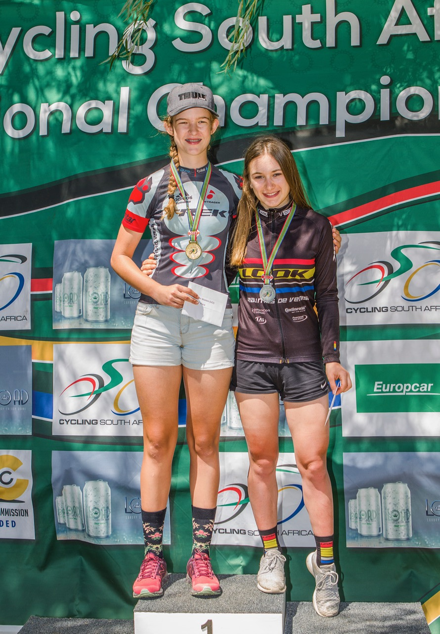 KwaZulu-Natal's Tiffany Keep finished as the first Junior Women across the line ahead of France's Isaure Medde and third placed Danielle Strydom at the first round of the LOAD National MTB XCO Series in Paarl on Saturday 25 February. Photo: DoubleST
