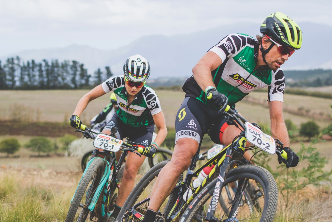 Jenny Rissveds and Thomas Frischknecht during stage 5 of the 2017 Absa Cape Epic Mountain Bike stage race held from Oak Valley Wine Estate in Elgin, South Africa on the 24th March 2017  Photo by Ewald Sadie/Cape Epic/SPORTZPICS