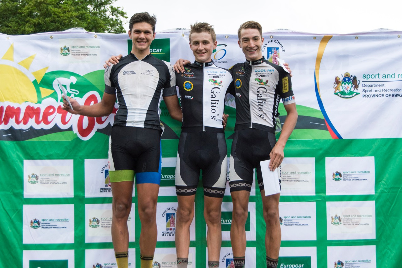 Junior Men's podium (from left to right) Jean-Pierre Lloyd, Callum Ormiston, and Esias Joubert on the first day of the KZN Summer Series for Men in Pietermaritzburg on Saturday 25 March. Photo: Andrew McFadden/BOOGS Photography