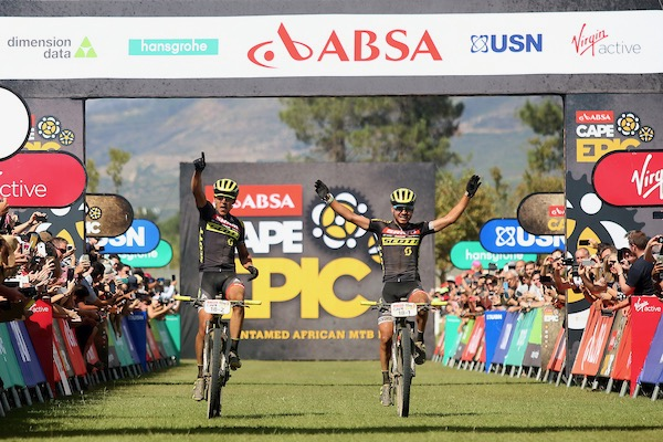 Andri Frischknecht & Michiel Van der Heijden of Scott-SRAM Young Guns celebrate winning the final stage (stage 7) of the 2017 Absa Cape Epic Mountain Bike stage race from Oak Valley Wine Estate in Elgin to Val de Vie in Paarl, South Africa on the 26th March 2017  Photo by Shaun Roy/Cape Epic/SPORTZPICS