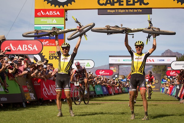 Nino Schurter and Matthias Stirnemann of Scott SRAM MTB Racing celebrate after winning the 2017 Absa Cape Epic during the final stage (stage 7) of the 2017 Absa Cape Epic Mountain Bike stage race from Oak Valley Wine Estate in Elgin to Val de Vie in Paarl, South Africa on the 26th March 2017  Photo by Nick Muzik/Cape Epic/SPORTZPICS