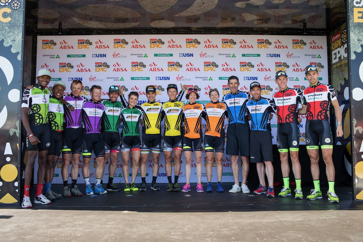 The Jersey Winners during the final stage (stage 7) of the 2017 Absa Cape Epic Mountain Bike stage race from Oak Valley Wine Estate in Elgin to Val de Vie in Paarl, South Africa on the 26th March 2017  Photo by Nick Muzik/Cape Epic/SPORTZPICS