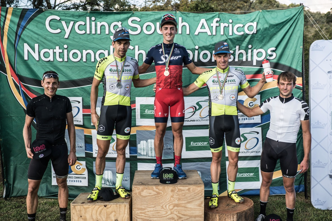 The Elite Men's podium from left: Jan Withaar, Philip Buys (PYGA Eurosteel), Alan Hatherly (Team Spur), Matthys Beukes (PYGA Eurosteel), Stuart Marais at the second round of the 2017 SA National MTB Cup Series XCO at the Wolwespruit Bike Park in Tshwane on Saturday 15 April 2017. 📷 Etienne Schoeman