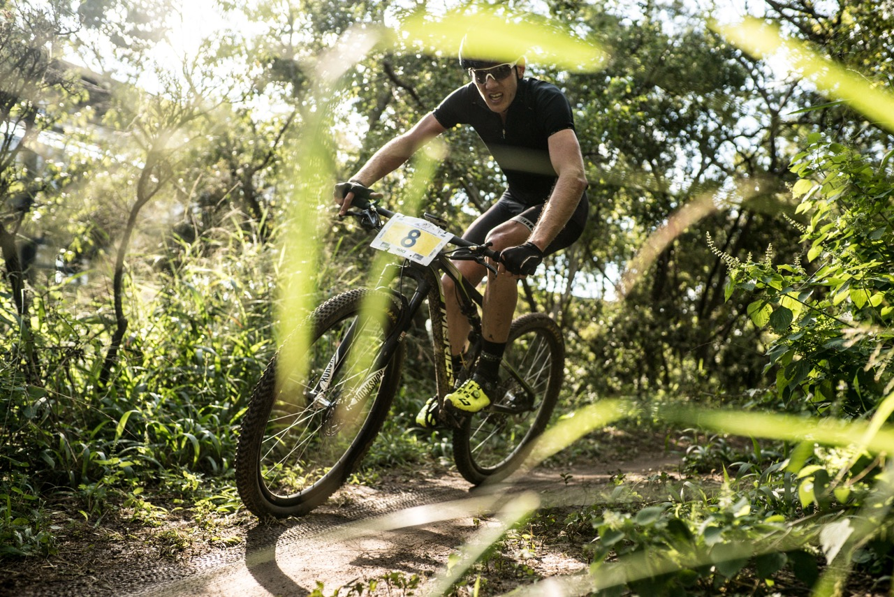 Jan Withaar maintains focus through the trees at the second round of the 2017 SA National MTB Cup Series XCO at the Wolwespruit Bike Park in Tshwane on Saturday 15 April 2017. 📷 Etienne Schoeman