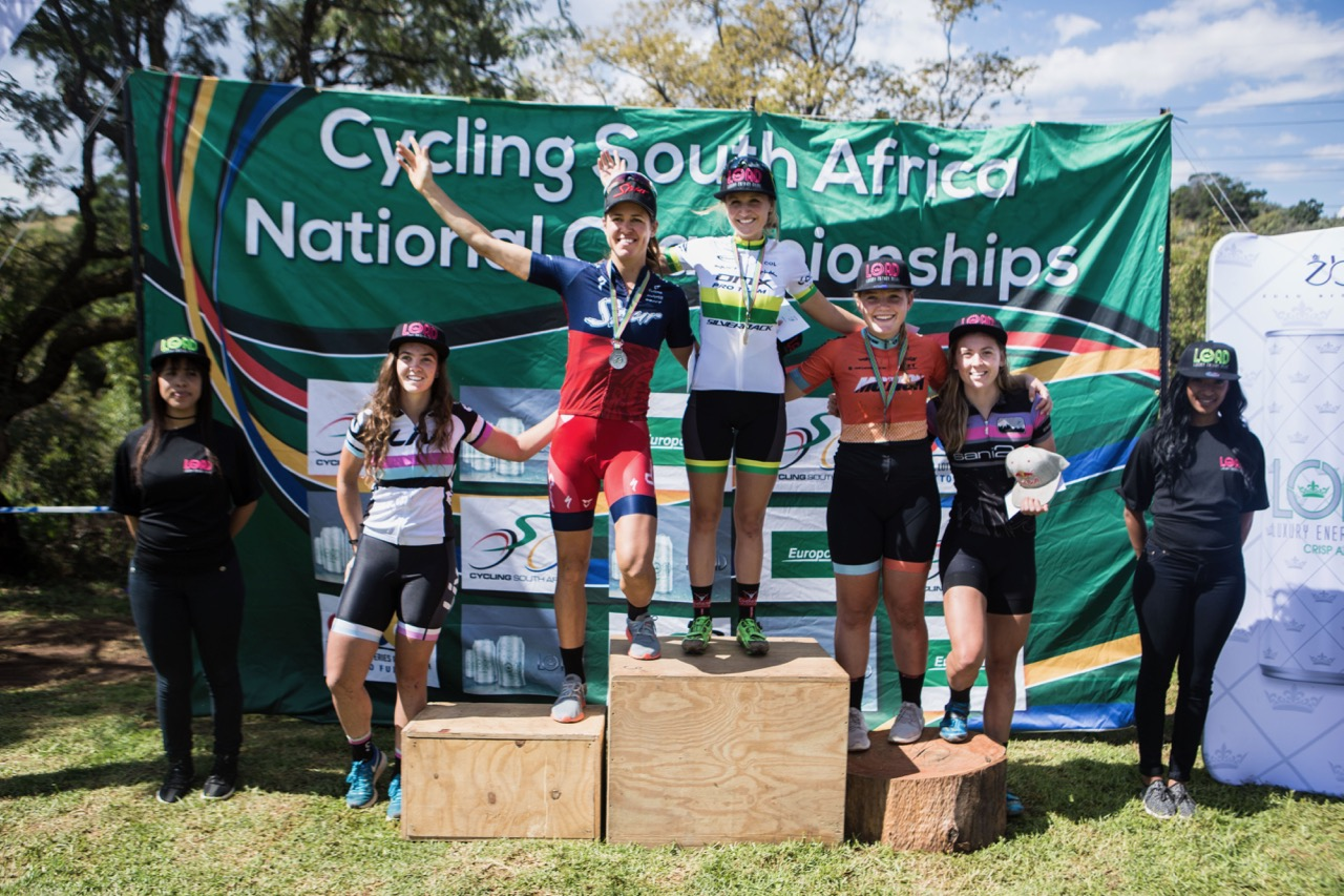 The Elite Women's podium from left: Sarah Hill, Ariane Luthi (Team Spur), Mariske Strauss (OMX Pro Team), Frances du Toit (Absolute Motion), Bianca Haw (Red Bull) at the second round of the 2017 SA National MTB Cup Series XCO at the Wolwespruit Bike Park in Tshwane on Saturday 15 April 2017. 📷 Etienne Schoeman