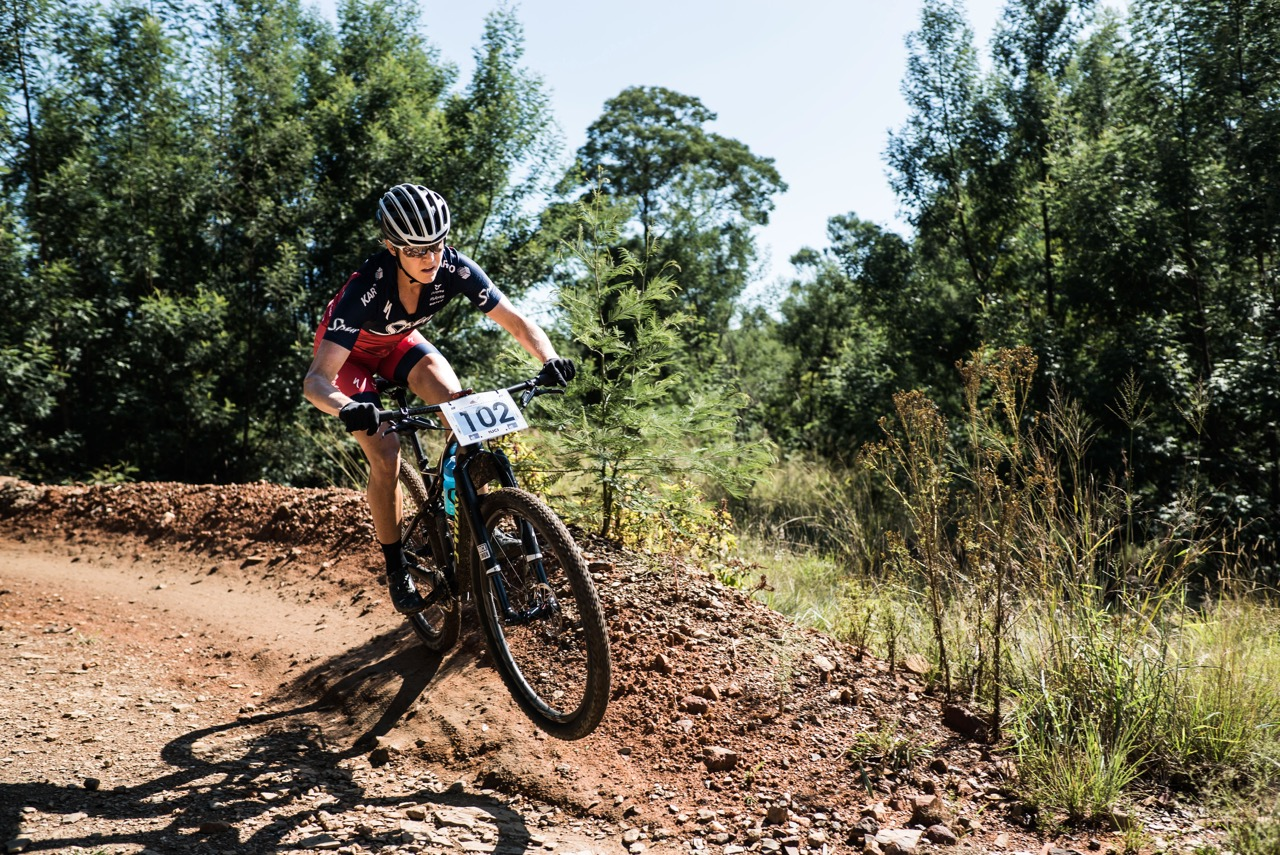 Ariane Luthi (Team Spur) navigates her way to second place at the second round of the 2017 SA National MTB Cup Series XCO at the Wolwespruit Bike Park in Tshwane on Saturday 15 April 2017. 📷 Etienne Schoeman