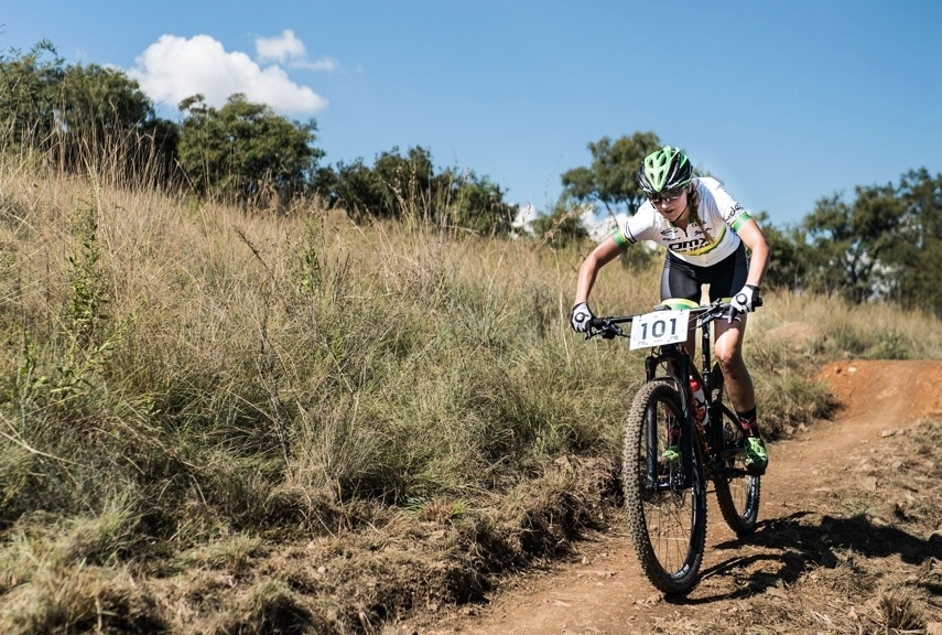 Mariske Strauss (OMX Pro Team) surged ahead in complete control, posting the fastest laps in each of her five laps and claiming her victory in a time of 01:27:15 at the second round of the 2017 SA National MTB Cup Series XCO at the Wolwespruit Bike Park in Tshwane on Saturday 15 April 2017. 📷 Etienne Schoeman