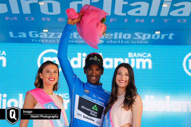 Team Dimension Data for Qhubeka has had a successful first few days at the Giro d'Italia, which runs from 5-28 May. Pictured: Daniel Teklehaimanot seized the King of the Mountains Jersey after Stage Two of the Tour. Photo: Stiehl Photography