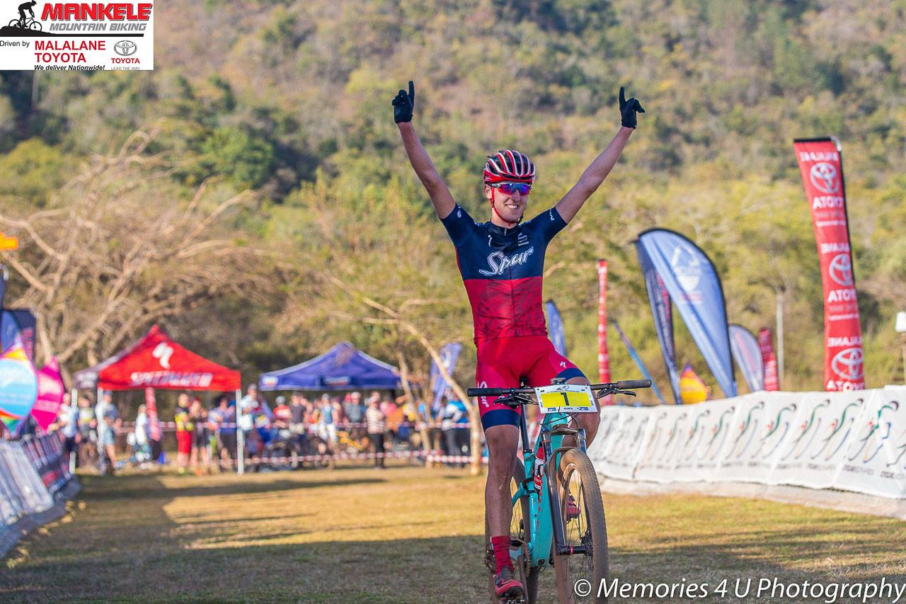Team Spur's Hatherly consistently drove the ace to remain in the front of the race from start to finish, claiming the Elite Men's title after seven laps at the 2017 SA National XCO Championships at Mankele MTB Park on Saturday 22 July. Photo: Memories 4 U Photography Facebook Page