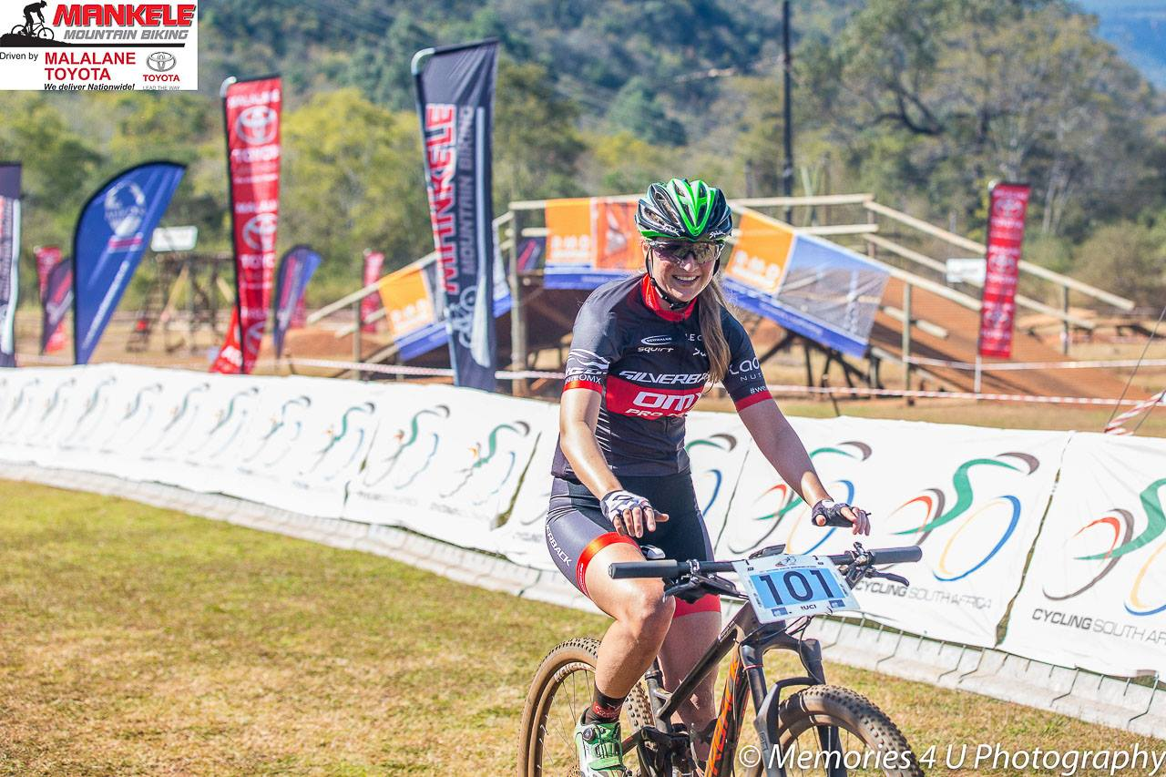"""OMX Pro Team's Mariske Strauss was """"super chuffed"""" with her Elite Women's victory at the 2017 SA National XCO Championships at Mankele MTB Park on Saturday 22 July. Photo: Memories 4 U Photography Facebook Page"""