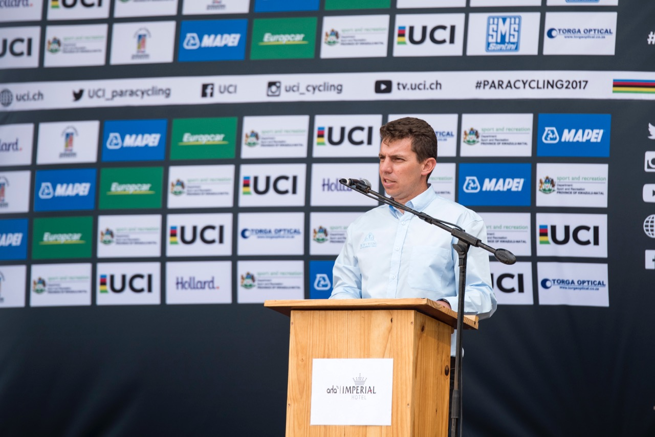 KwaZulu-Natal Cycling President, Greg Stedman, at the opening of the 2017 UCI Para-cycling Road World Championships on Tuesday 29 August. Photo: CyclingSA/BOOGS Photography