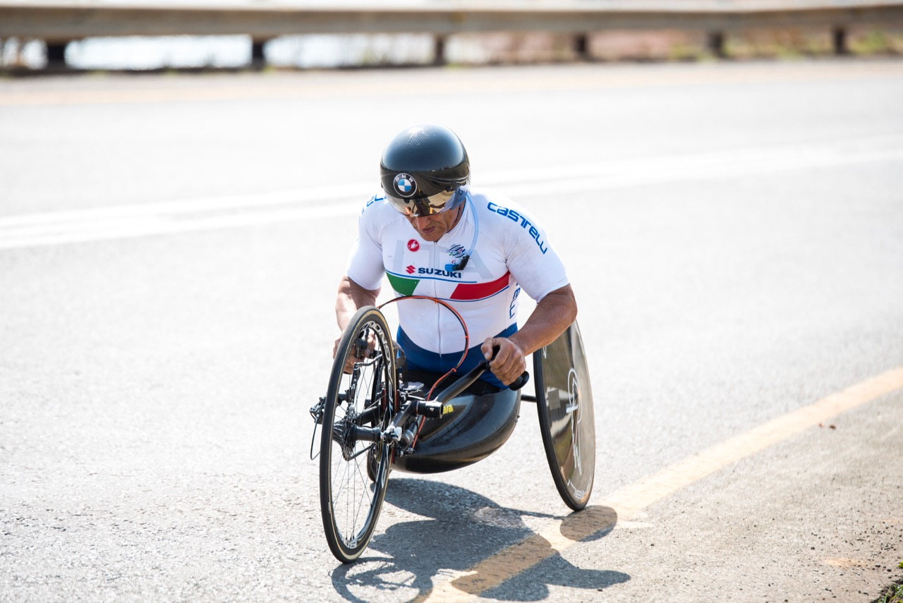 Multiple UCI World Champion and Paralympic medallist Alessandro Zanardi had an excellent session on the 23.3-kilometre course today, as the Men's H5 hand cycling class kicked off the afternoon session, claiming a gold medal for his team during the Time Trial on Day 1 of the 2017 UCI Para-cycling Road World Championships held at Midmar Dam Howick, South Africa, on Thursday 31 August 2017. Photo credit: Andrew Mc Fadden