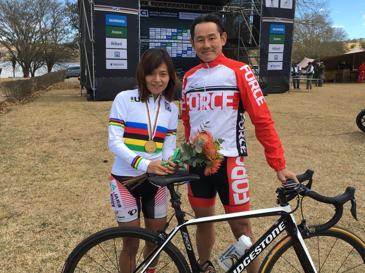 The Japanese Cycling Federation earned their first gold medal of the week when Keiko Noguchi won the Women's C3 Time Trial in a time of 26:17.23 along the 15.5km distance during the Time Trial on Day 2 of the 2017 UCI Para-cycling Road World Championships held at Midmar Dam Howick, South Africa, on Friday 1 September 2017. Photo credit: Mylene Paynter