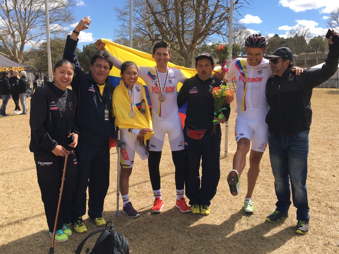 Team Colombia proudly celebrate their medals during the Time Trial on Day 2 of the 2017 UCI Para-cycling Road World Championships held at Midmar Dam Howick, South Africa, on Friday 1 September 2017. Photo credit: Mylene Paynter
