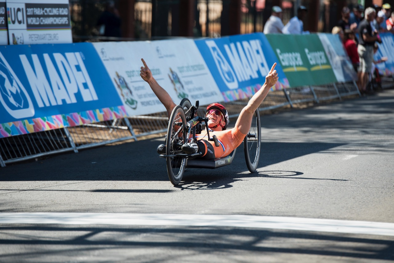 Competing in his sixth UCI Para-cycling Road World Championships, Jetze Plat (NED) wins not one but two gold medals as he is pictured celebrating as he crosses the finish line of the H4 Road Race on Day 3 of the 2017 UCI Para-cycling Road World Championships held at Alexandra Park Pietermaritzburg, South Africa, on Saturday 2 September 2017. Photo credit: Andrew Mc Fadden