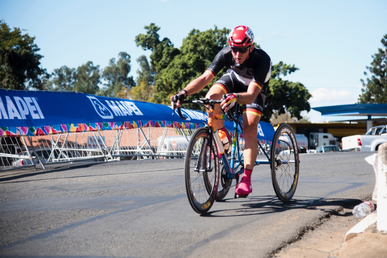 59-year-old Hans-Peter Durst celebrated yet another gold medal for Germany when he claimed gold during the Road Race on Day 3 of the 2017 UCI Para-cycling Road World Championships held at Alexandra Park Pietermaritzburg, South Africa, on Saturday 2 September 2017. Photo credit: Andrew Mc Fadden