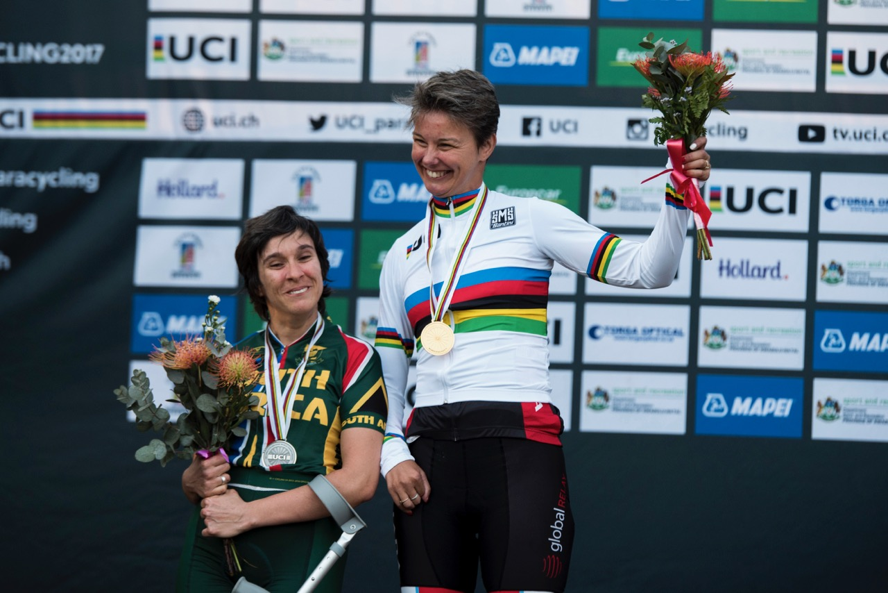 In the Women's T1 race, Canadian Shelley Gautier added another gold medal to the Canadian team's tally, while Toni Mould scooped silver for South Africa during the Road Race on Day 3 of the 2017 UCI Para-cycling Road World Championships held at Alexandra Park Pietermaritzburg, South Africa, on Saturday 2 September 2017. Photo credit: Andrew Mc Fadden