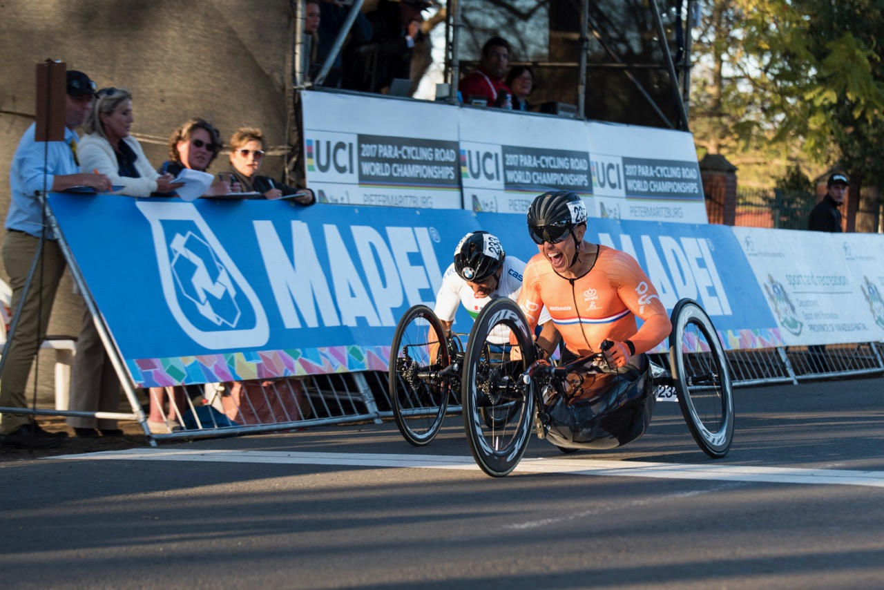 Dutch rider Tim de Vries claimed his first career UCI World Championships gold medal during the 10-lap encounter in the H5 handcycling race on Day 3 of the 2017 UCI Para-cycling Road World Championships held at Alexandra Park Pietermaritzburg, South Africa, on Saturday 2 September 2017. Photo credit: Andrew Mc Fadden
