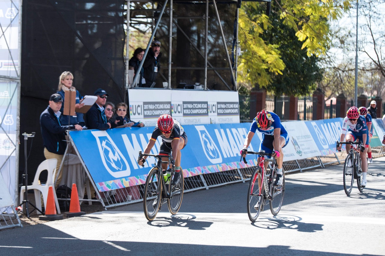 Kerstin Brachtendorf added yet another gold medal to the nation's tally when she completed the 60.7-kilometre Women's C5 Road Race in a time of 1:41:58 in a sprint finish against Argentinian Mariela Analia Delgado during the Road Race on Day 4 of the 2017 UCI Para-cycling Road World Championships held at Alexandra Park Pietermaritzburg, South Africa, on Sunday 3 September 2017. Photo credit: Andrew Mc Fadden