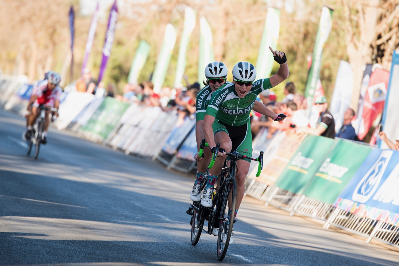 The Irish duo of Katie-George Dunlevy and Eve McCrystal timed their attack to perfection to take the victory in the Women's Visually Impaired race, covering a distance of 85km in a time of 2:05:54 on Day 4 of the 2017 UCI Para-cycling Road World Championships held at Alexandra Park Pietermaritzburg, South Africa, on Sunday 3 September 2017. Photo credit: Andrew Mc Fadden