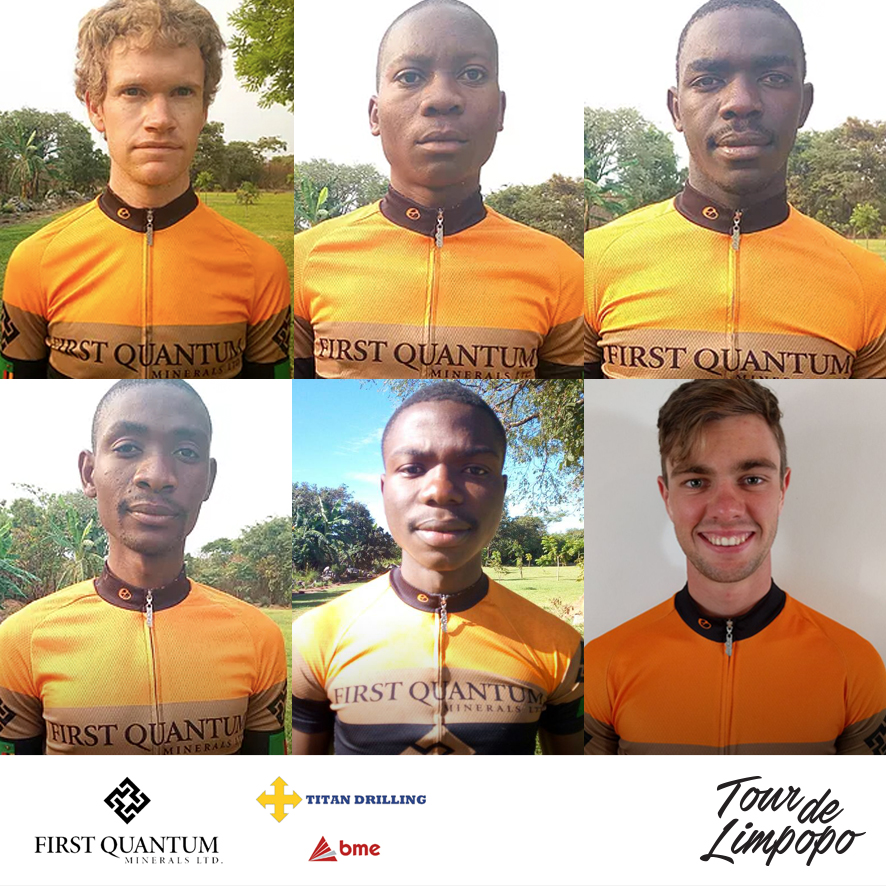 First Quantum Pro Cycling from Zambia will be competing in the inaugural Tour de Limpopo, which starts at the Peter Mokaba Stadium in Polokwane from 23-26 April 2018. The team from top left Ryan Ellis, Bedias Tunkanya, Bernard Saulombu; bottom from left Michael Olokani, Sydney Juma, Francois Burger.