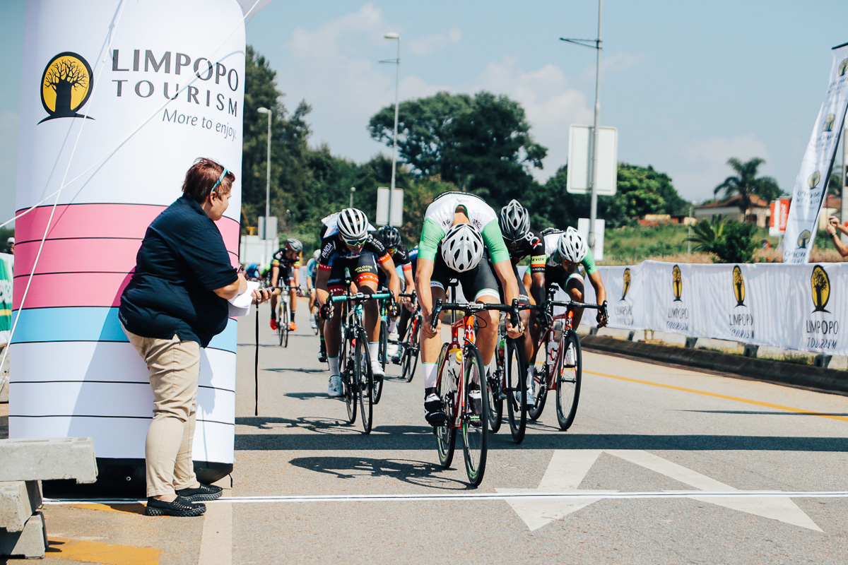 Gustav Basson (ProTouch Sports) lunges his wheel in front to claim the victory on Stage 1 of the Tour de Limpopo from Polokwane to Tzaneen on Monday 23 April 2018 © HaydsBrown