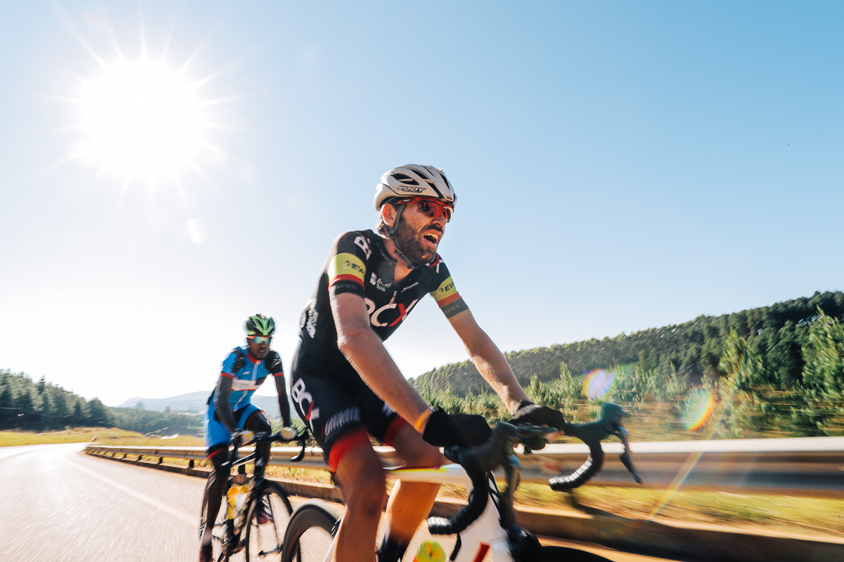 Steven van Heerden launched several attacks and rode out front with Redwan Salih Ebrahim (World Cycling Centre Africa Mixed Team) at one point on Stage 4 of the Tour de Limpopo from Tzaneen to Polokwane on Thursday 26 April 2018 © HaydsBrown