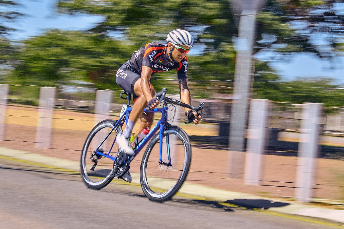 Mauritian Thierry David (Team MCB) navigates the tricky sections along the Peter Mokaba Stadium Sports Precinct on the finish section on Stage 4 of the Tour de Limpopo from Tzaneen to Polokwane on Thursday 26 April 2018 © hilensmike