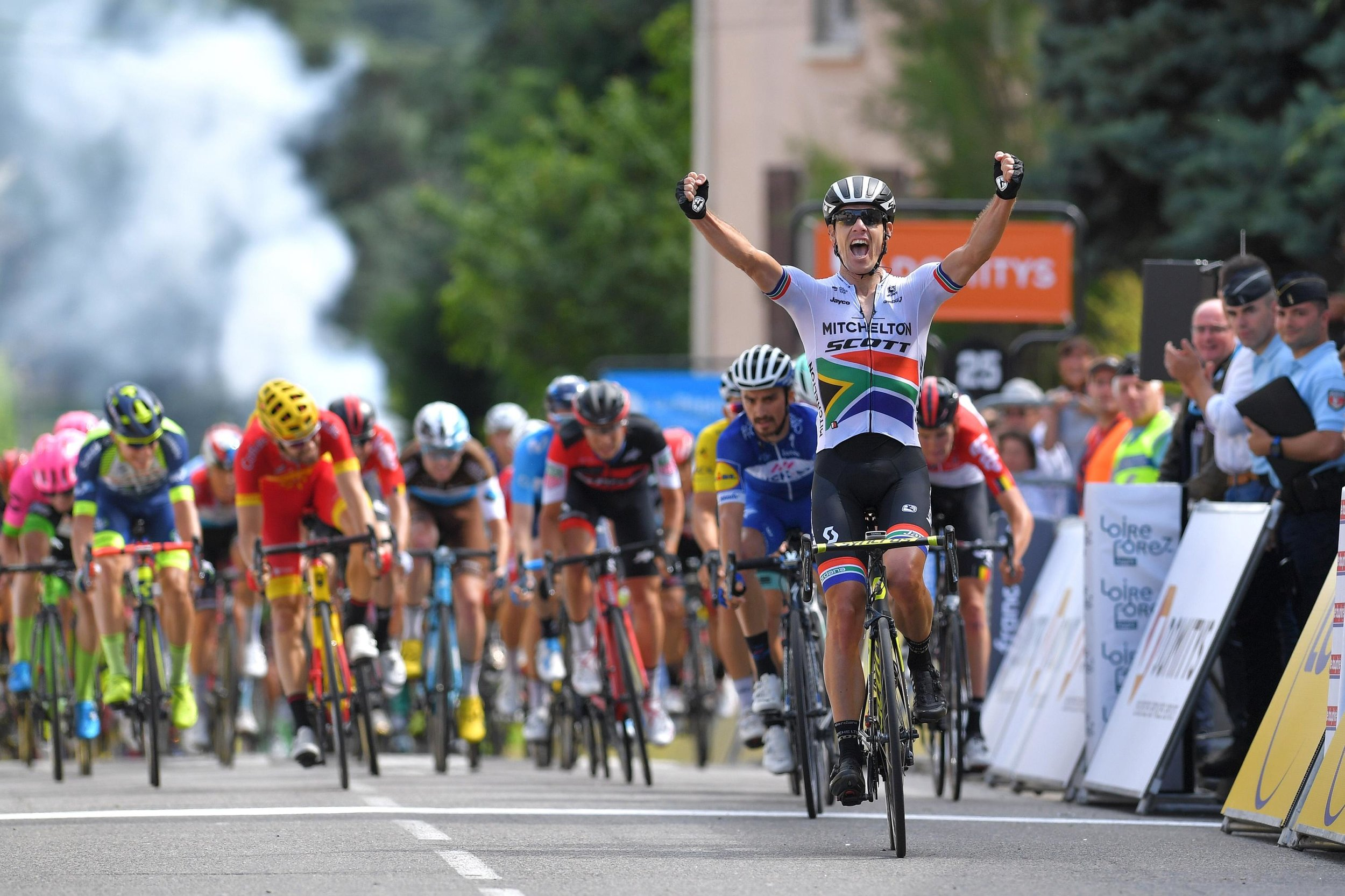 South African champion  Daryl Impey  continued  Mitchelton-SCOTT 's winning ways by stealing the victory on today's first road stage of  Criterium du Dauphine.   Photo courtesy of Getty Images