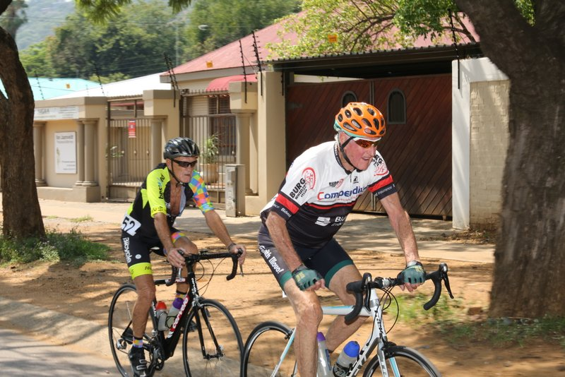 Octogenarians Michael Smith (rear - winner) and Arthur Duncan (front - second) kept the racing close in the 80+ category at the 2019 SA ROAD National Championships held in the City of Tshwane from 7-10 February. Photo: Cycling SA/Rika Joubert