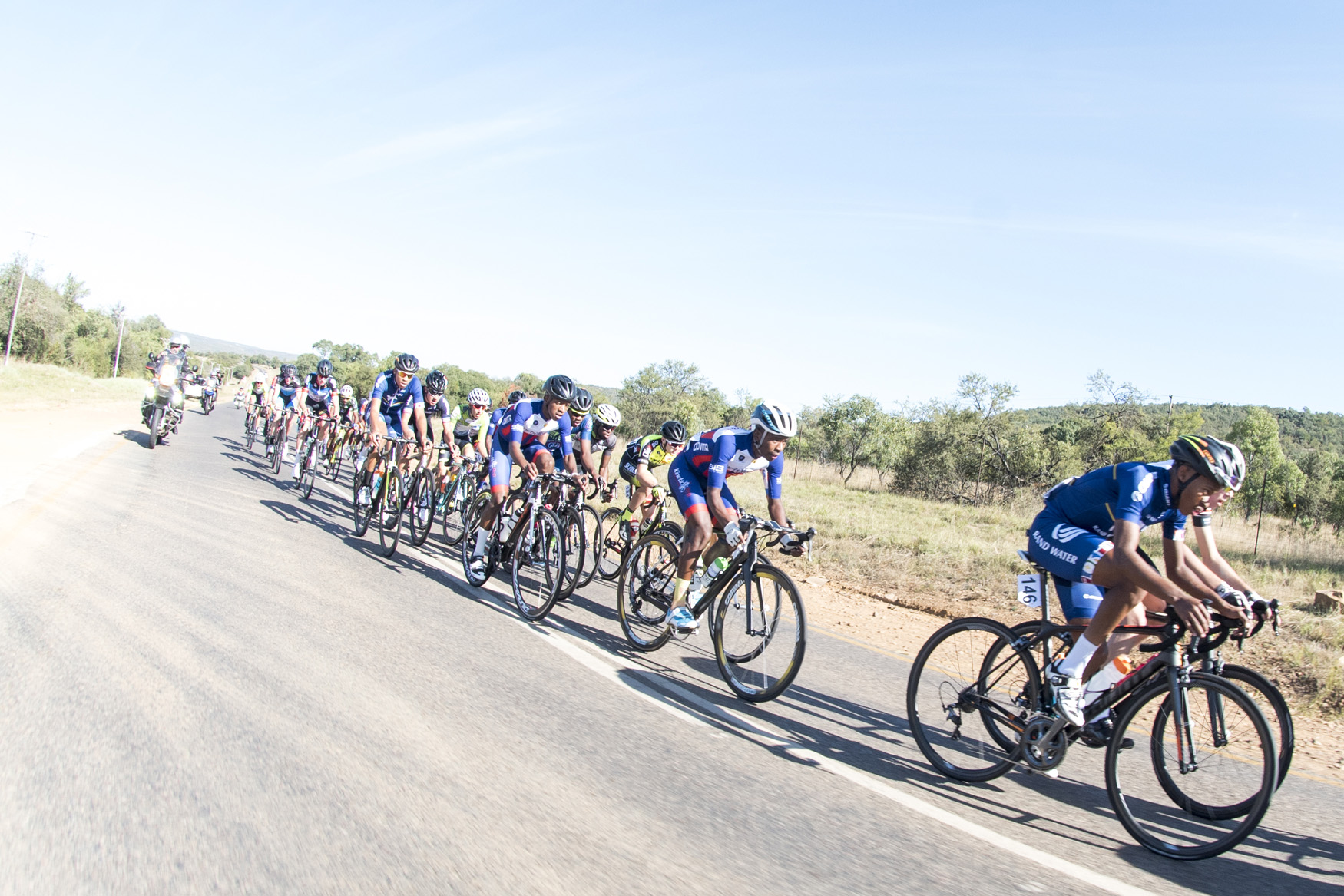 Nineteen domestic and international cycling teams raced from Bela Bela to Polokwane on Stage 1 of the 2019 Tour de Limpopo (UCI 2.2) from 14-18 May © Tour de Limpopo/Andrew Mc Fadden