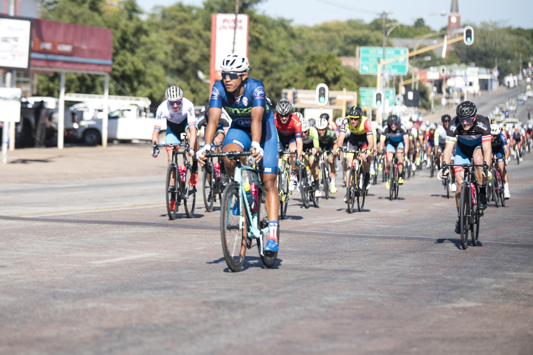 Nolan Hoffman (Proud Beginners) claimed the first sprint hotspot from Bela Bela to Polokwane on Stage 1 of the 2019 Tour de Limpopo (UCI 2.2) from 14-18 May © Tour de Limpopo/Andrew Mc Fadden