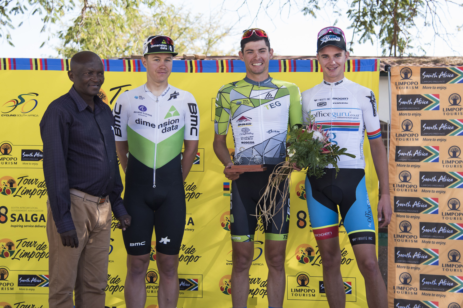 Stage 1 race winner Gustav Basson (TEG Continental - centre) flanked by Alexander Konychev (Team Dimension Data Continental - left) and Marc Pritzen (Officeguru Racing - right) at the 2019 Tour de Limpopo (UCI 2.2) from 14-18 May © Tour de Limpopo/Andrew Mc Fadden