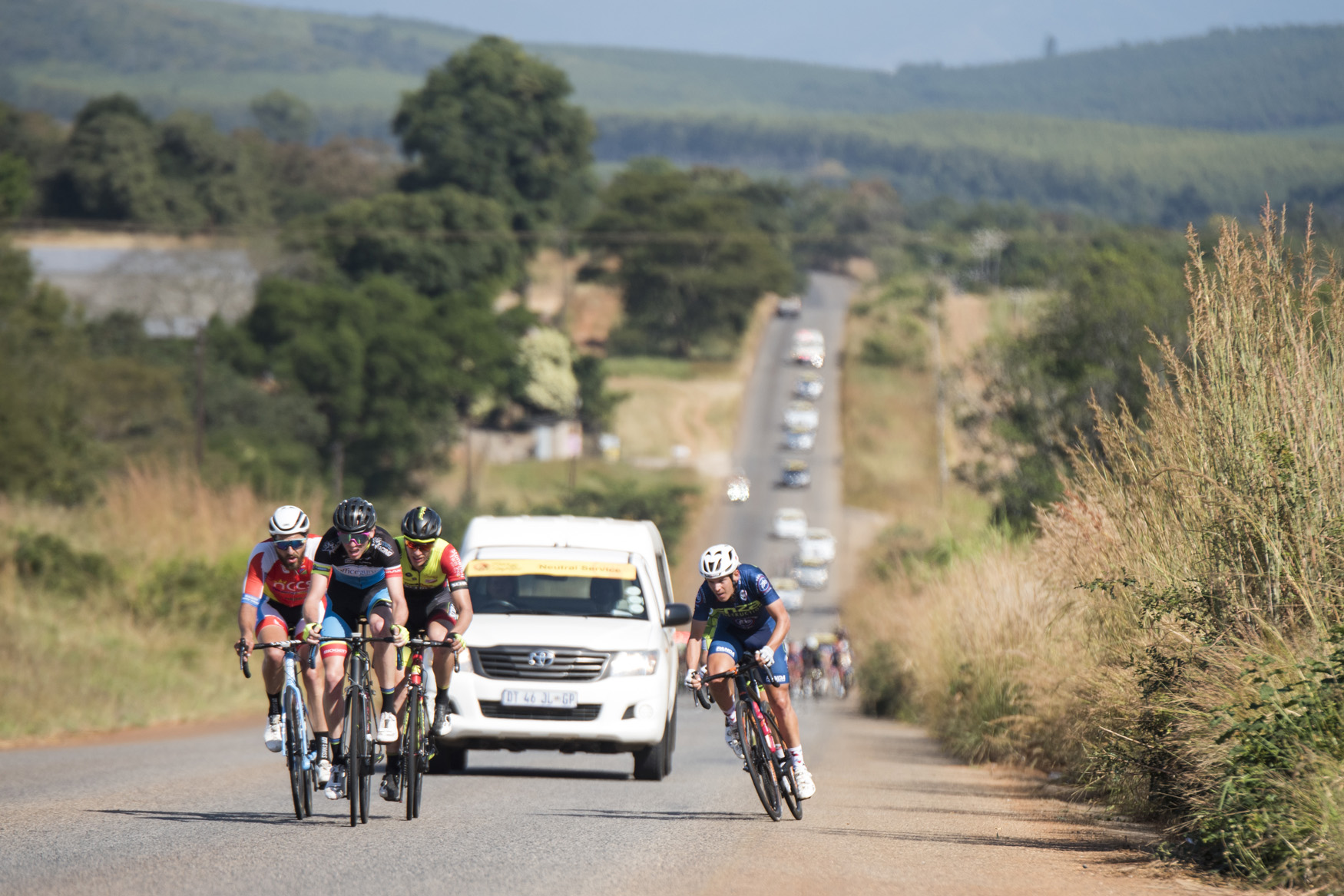 Jean-Pierre Lloyd (Officeguru Racing) heads the lead pack including Dominic Schils (Velo Schils), Herman Keller (NCCS Namibia) and David Maree (Proud Beginners) from Tzaneen to Old Coach Road, Mt. Agatha, on Stage 3 of the 2019 Tour de Limpopo (UCI 2.2) from 14-18 May © Tour de Limpopo/Andrew Mc Fadden