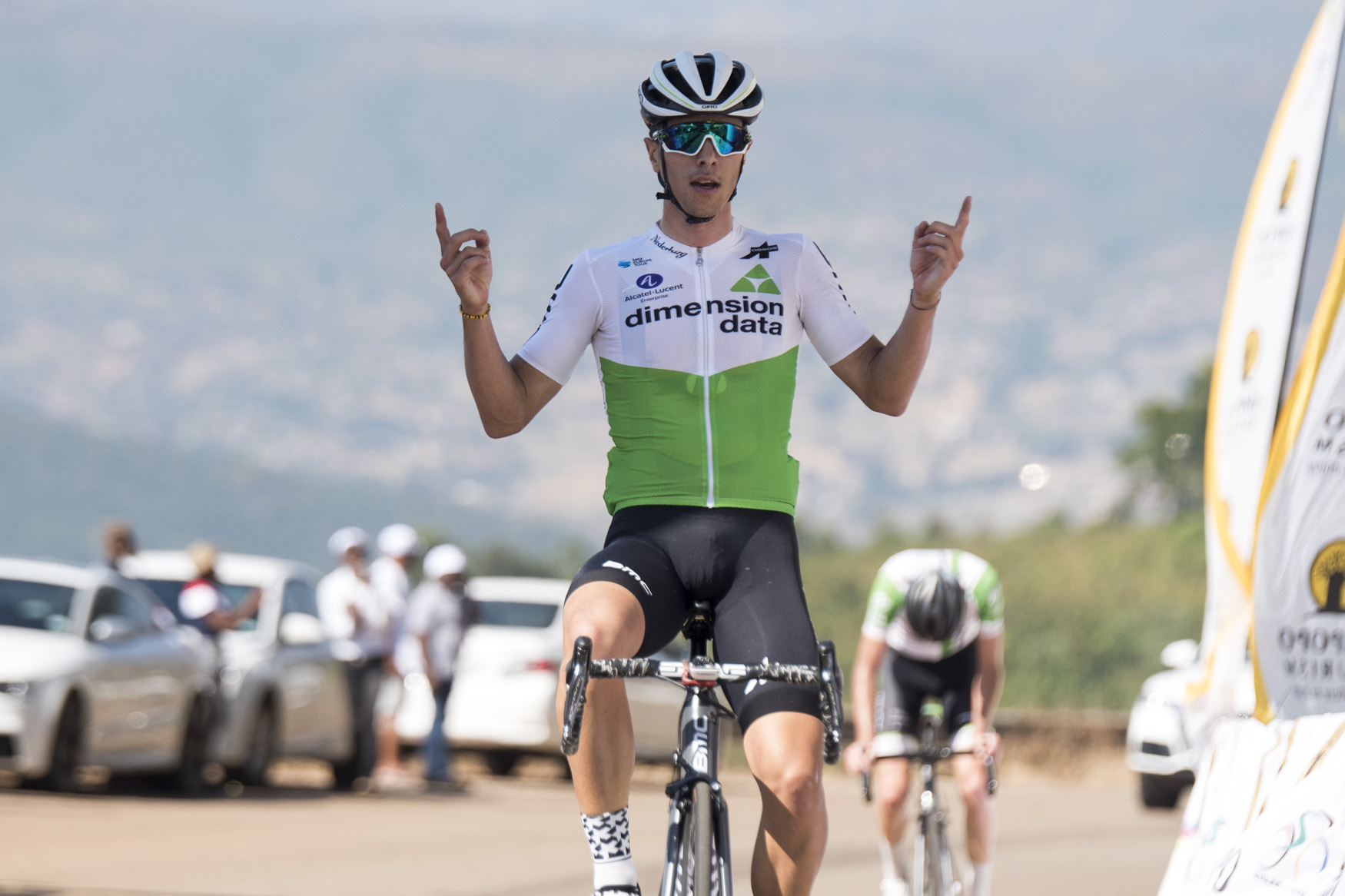 Team Dimension Data Continental's Samuele Battistella does the victory salute atop the Old Coach Road after winning the stage in  02:32:26  from Tzaneen to Old Coach Road, Mt. Agatha, on Stage 3 of the 2019 Tour de Limpopo (UCI 2.2) from 14-18 May © Tour de Limpopo/Andrew Mc Fadden
