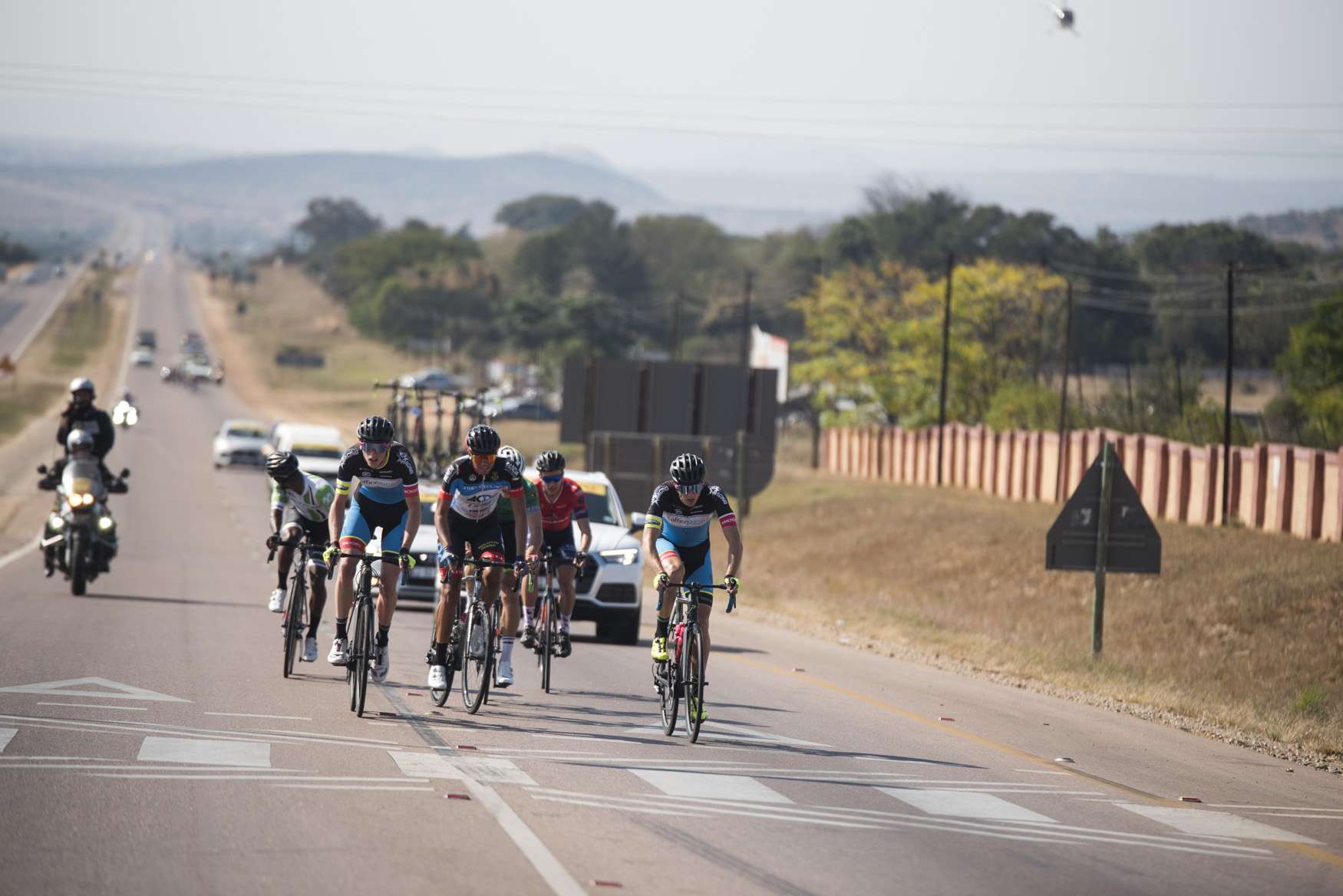 The breakaway, which would contain the lead six who claimed the top six positions of the stage, were Dylan Girdlestone and Alexander Worsdale (Officeguru Racing), Clint Hendricks (ProTouch Continental), Jason Oosthuizen (TEG Continental), Hendrik Kruger (Alfa Bodyworks Giant) and Casper Kruger (ACDC Luso)  from Tzaneen to Peter Mokaba Stadium, Polokwane, on Stage 4 of the 2019 Tour de Limpopo (UCI 2.2) from 14-18 May © Tour de Limpopo/Andrew Mc Fadden