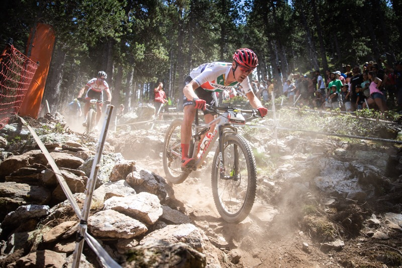 Alan Hatherly descends a rock garden at Vallnord, Andorra for round no. three of the 2019 Mercedes Benz UCI Mountain Bike World Cup Series on Sunday 7 July. Photo credit Michal Cerveny
