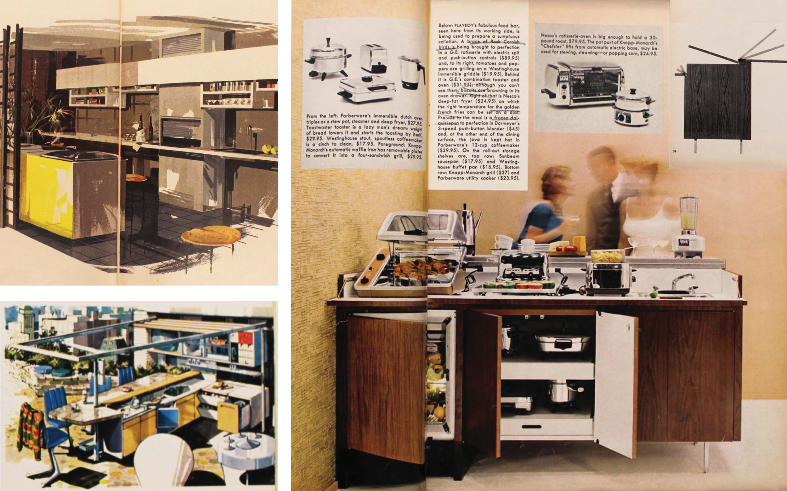 Figure 2:  Suggested kitchen replacements, a la  Playboy;  clockwise from top left:  The Playboy Penthouse, September 1956; The Kitchenless Kitchen, October 1959; The Playboy Patio Terrace, August 1963.     Playboy 's crusade against the kitchen takes place in kitchen replacements. Depicted here are a few versions of kitchen transformations which, over time, remove all recognizable nuclear concepts of the kitchen. The first iteration features a hidden kitchen, tucked neatly behind a shoji screen, with no allusion to the hygienic or practical functions of cookery. The Kitchenless Kitchen suggests the complete lack of cooking space made up for in performative, transformative counters and crevices made to fit new, specialized contraptions rather than conventional dowry-shrouded appliances. The bachelor enters in. Lastly, the suggestion of a non-kitchen kitchen appears on the playboy patio terrace, where all practical or necessary functions are removed and replaced by the purely performative and social.