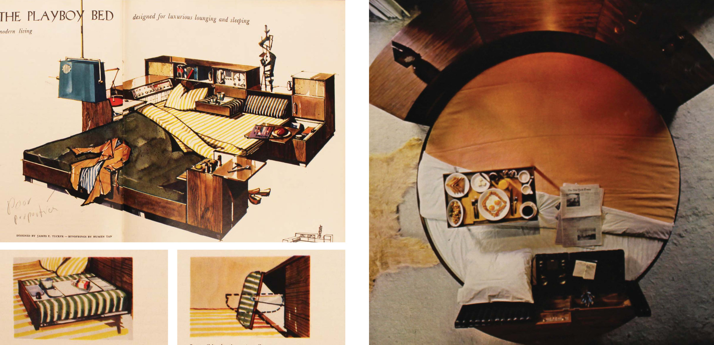 Figure 3:  Designs for the Playboy Bed:  The Playboy Bed, November 1959 ;  The Playboy Bed, April 1965 .  The removal of domestic culinary space is further emphasized by the centralization of the bachelor pad around the bedroom.  Playboy  transforms the sleeping space into a technological and sexual hub where the bachelor exhibits dominance over his abode and his late-night companions. Two designs for a bed are filled with gadgets and control panels allowing the playboy to  flick ,  touch ,  rub ,  throw , or  push  his way to satisfaction: sound and lighting systems are easily reached, food storage and serving areas are copiously built in, and the round bed even rotates to match the playboy's preferred view. The highly-engineered qualities of the beds realize the fantasies of the male agoraphobe and reduce the spatial requirements of feminized programs down to toys that can be played with.